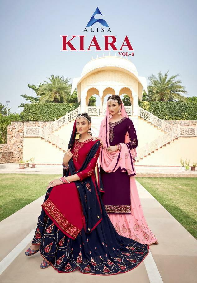 Alisa Kiara Vol 6 Designer Satin Georgette With Heavy Work And Handwork Ghaghra Suits Wholesale