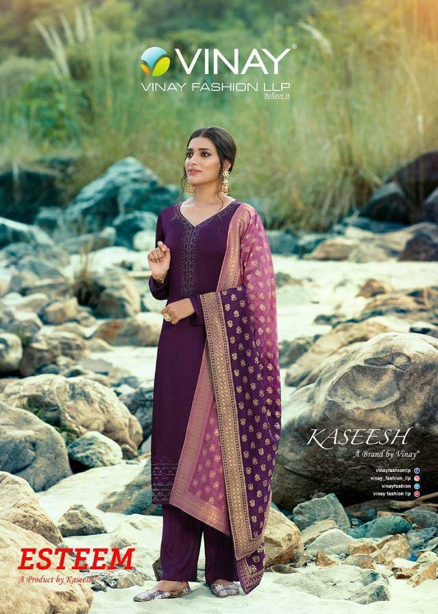 Vinay Kasheesh Esteem Designer Satin Georgette With Swarovski Work Suit Woth Shaded Jari Dupatta Wholesale