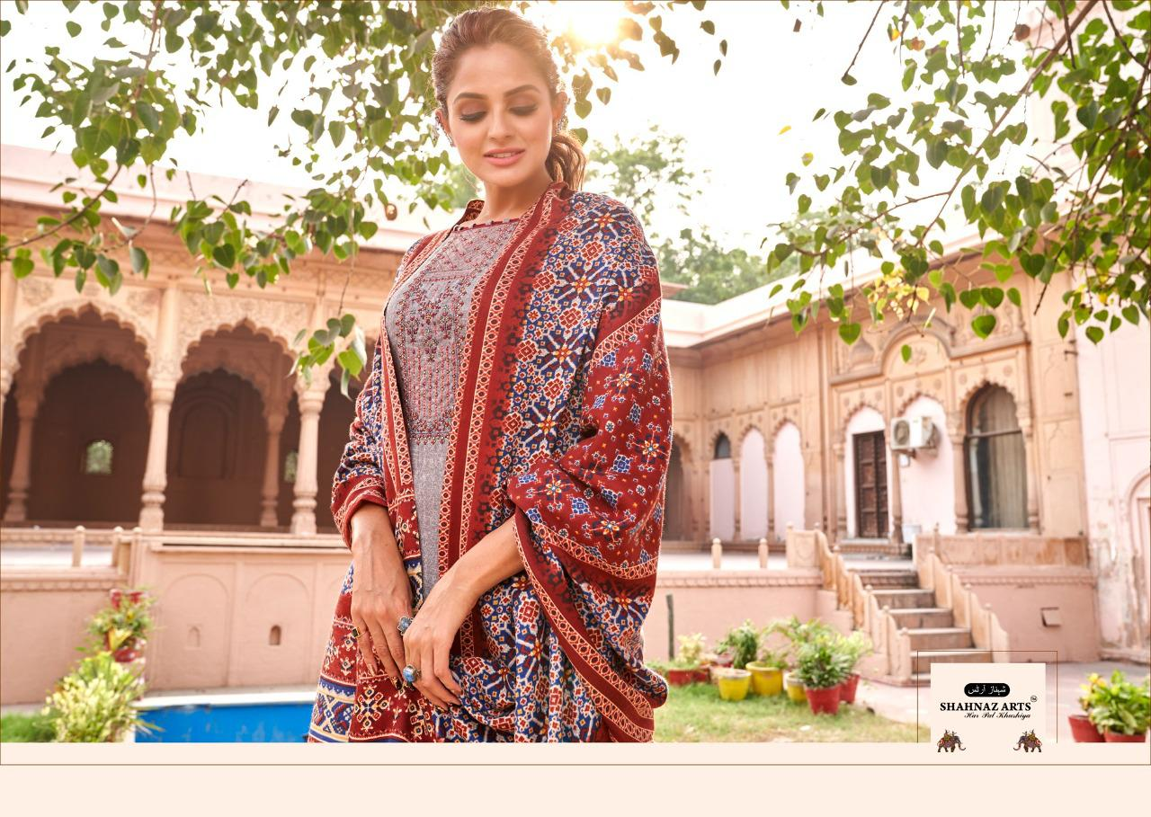 Shahnaz Arts Patola Designer Pashmina Print With Exclusive Embroidery Work Suits Wholesale