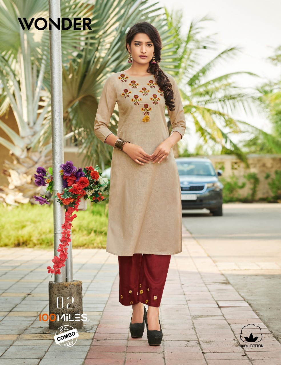 100 Miles Wonder With Bottom Combo Designer Embroidery Work Kurtis With Embroidery Work Pants Wholesale