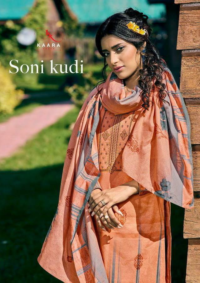 Kaara Suits Soni Kudi Designer Self Woven Pashmina Print With  Embroidery Work Suits Wholesale