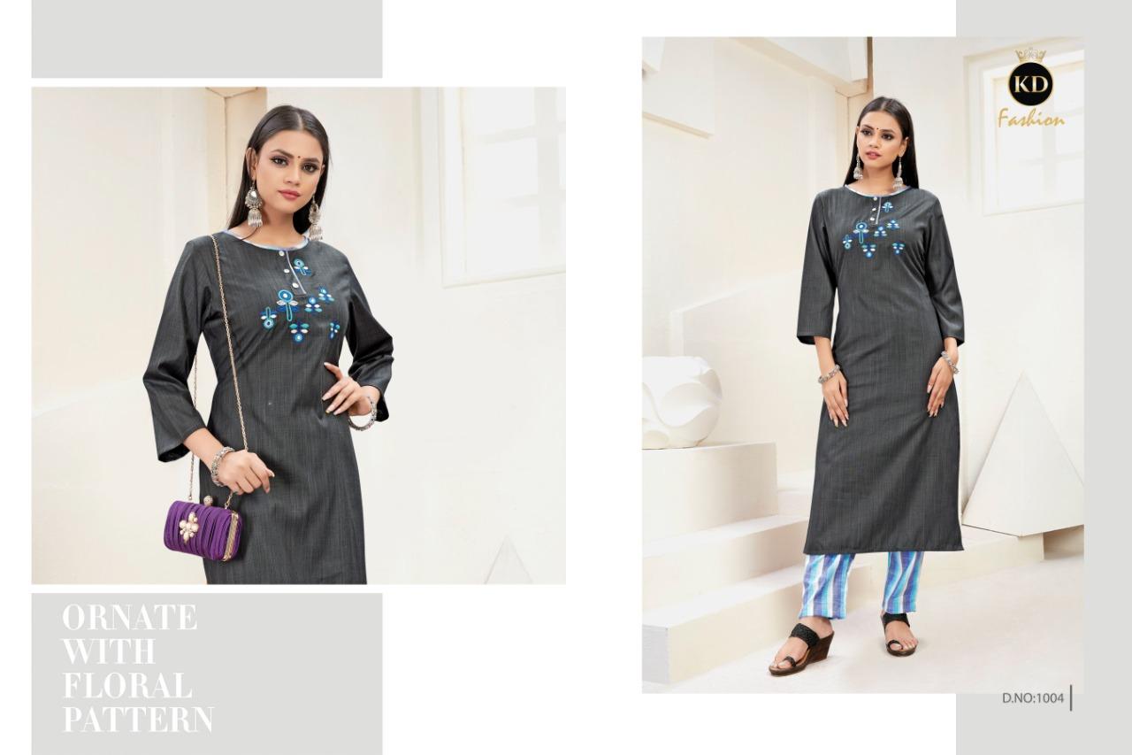 Kd Fashion Charming Designer Imp Cotton Embroidery Mirror Work Kurti With Pant Wholesale