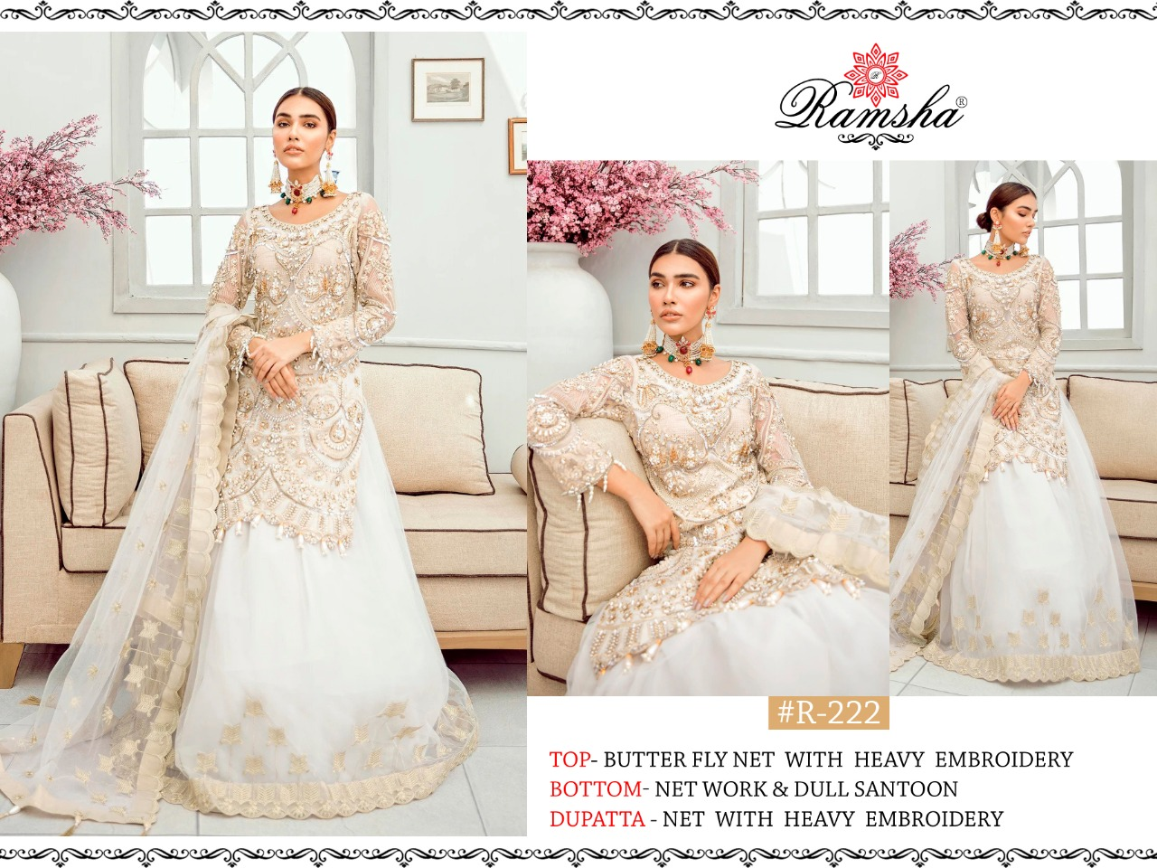 Ramsha R 221 R 222 R 223 Designer Butterfly Net With Heavy Embroidery Work Suits Wholesale