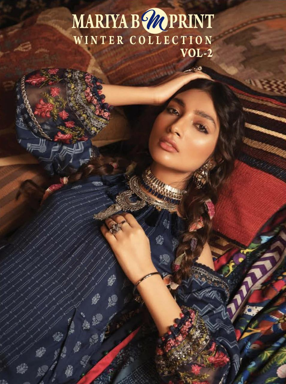 Shree Fab Maria B M Prints Winter Collection Vol 2 Designer Pashmina Print With Embroidery Work Suits Wholesale