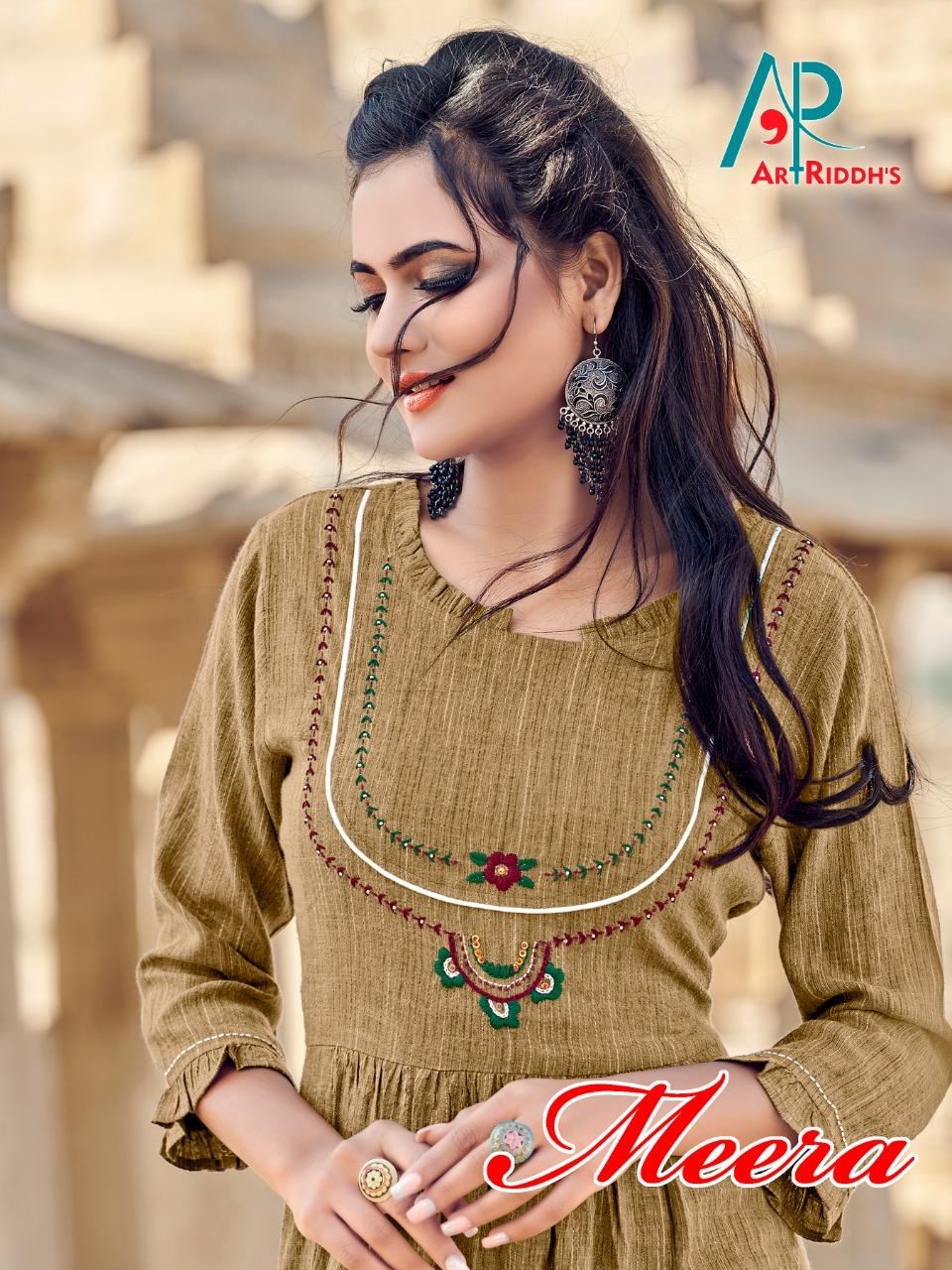 Art Riddhs Meera Designer Farrari Rayon Kurtis Wholesale
