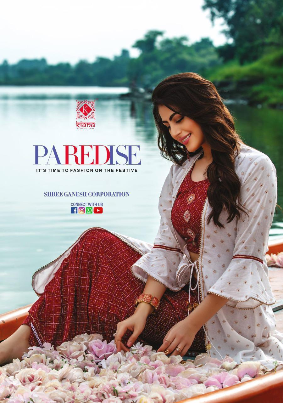 Kiana Paredise Designer Embroidery Wid Cropwork Top With Sharara Pent And Dupatta Wholesale