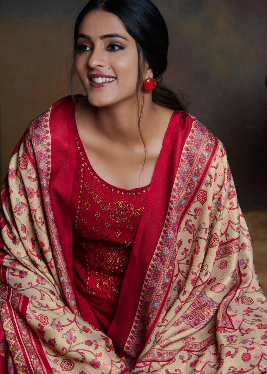 Bipson Kashmiri Beauty Designer Pashmina Dyed With Embroidery Work Suits Wholesale