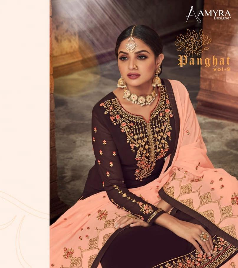 Amyra Designer Panghat Vol 9 Georgette With Heavy Embroidery Work And Diamond Work Partywear Lehanga Suits Wholesale
