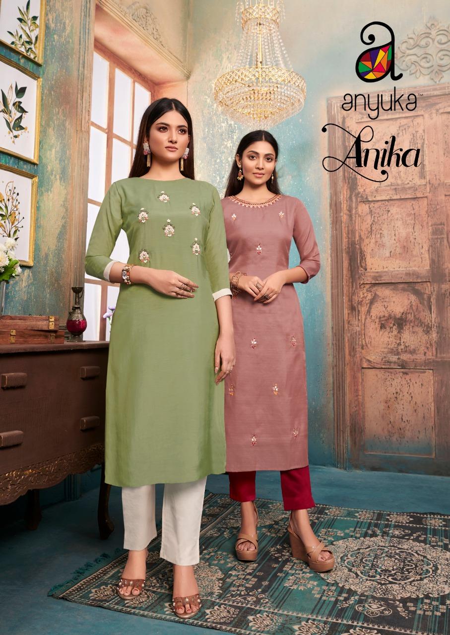 Anyuka Anika Designer Embroidery Work Kurtis With Pants And Dupatta Diwali Special Wholesale