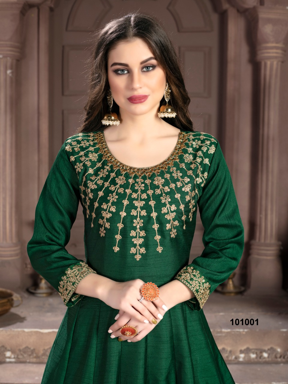 Aanaya 101000 Art Silk Embroidery Work Party Wear Suits Wholesale