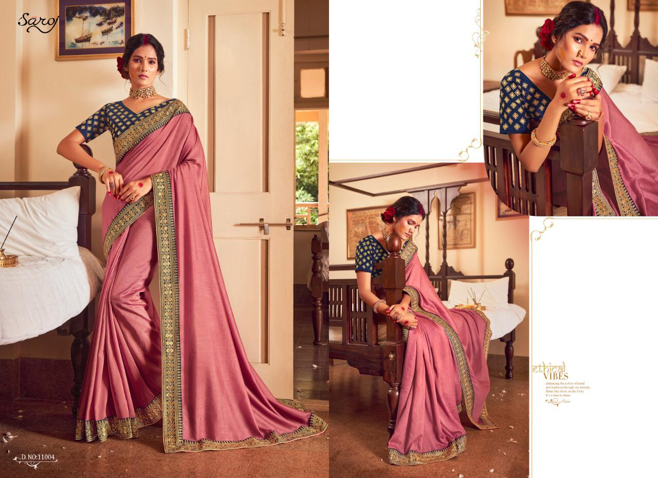 Saroj Afreen Vichitra Silk With Heavy Border Sarees Wholesale