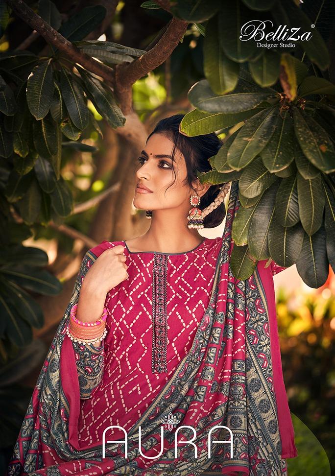 Belliza Aura Designer Pashmina Digital Printed With Kashmiri Embroidery Work Suits Wholesale