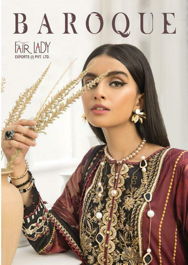Fair Lady Baroque Hit Design Jam Satin Print With Heavy Embroidery Work Suits Wholesale