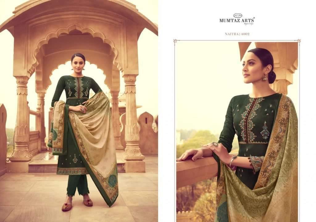 Mumtaz Arts Naitra Designer Embroidery Work Karachi Suits Single