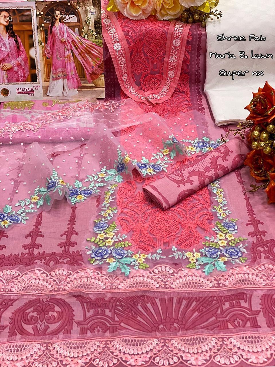 Shree Fab Mariya B Superhit Cotton Printed Embroidery Work Suits In Single