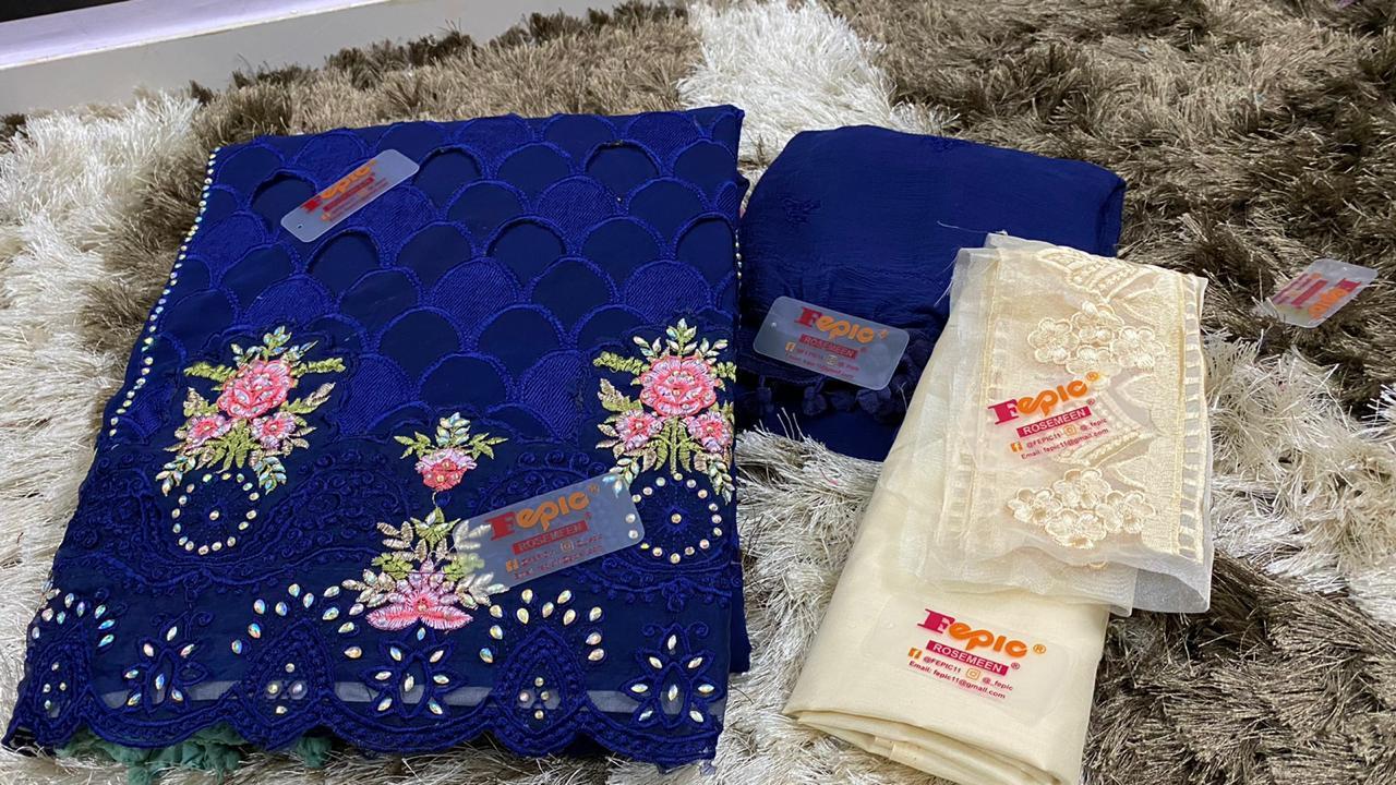 Fepic Rosemeen Universal Fox Georgette Partywear Suits In Singles
