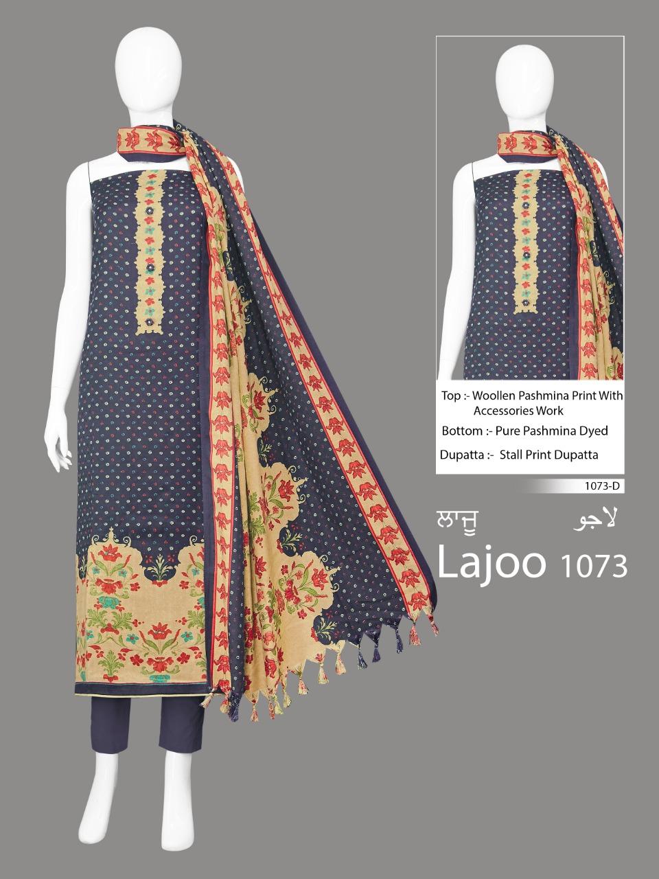 Lajoo 1073 Designer Woolen Pashmina Printed With Work Suits Wholesale