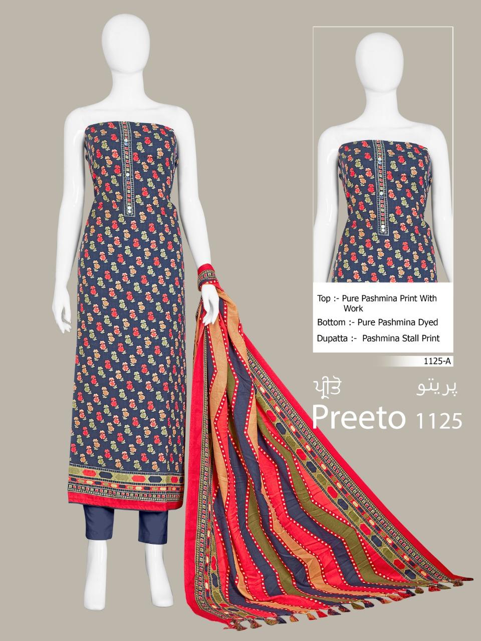 Preeto 1125 Designer Pashmina Print With Work Low Range Pashmina Suits Wholesale