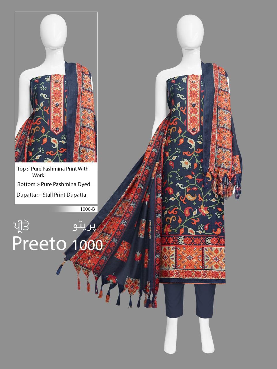 Bipson Preeto 1000 Designer Pashmina Digital Printed Suits Wholesale
