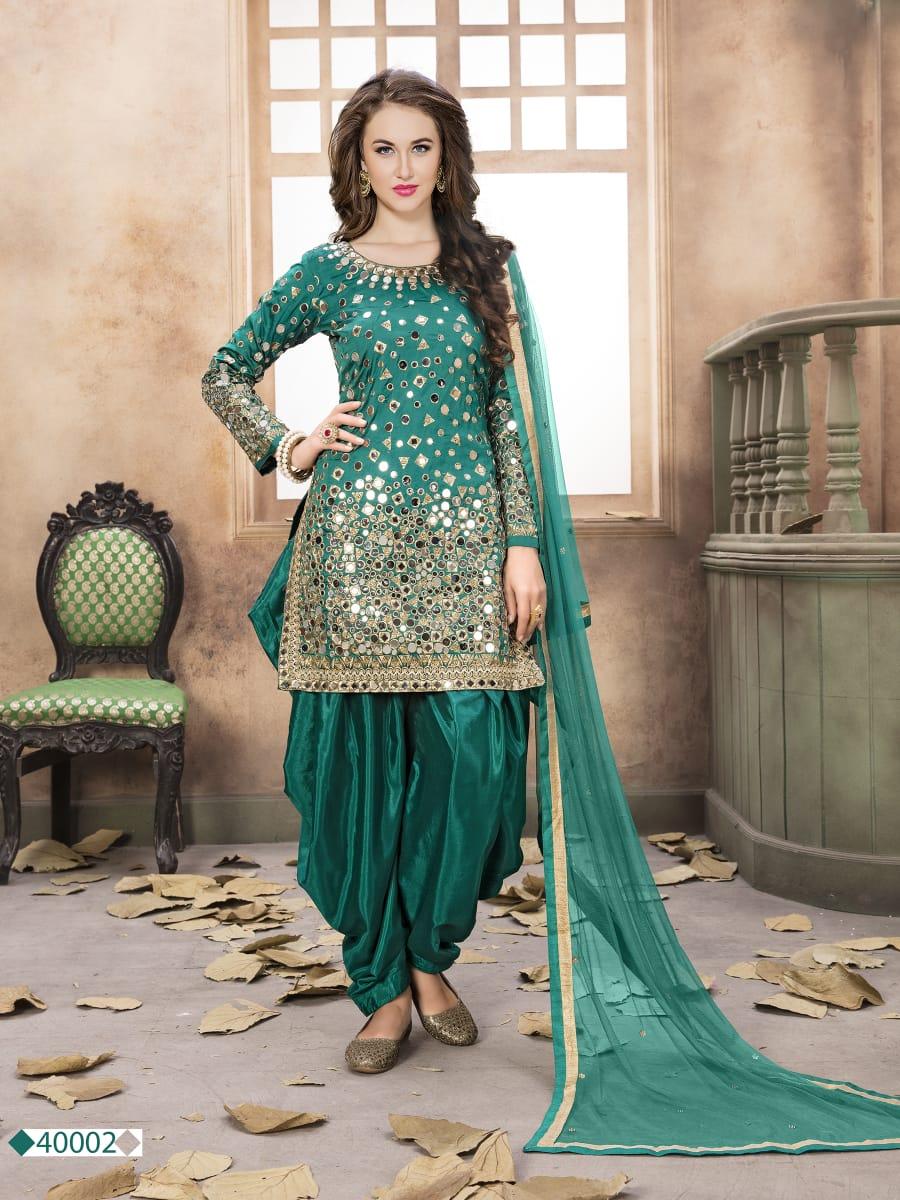 Twisha 40002 Designer Tafeta Silk With Mirror Work Suits In Single