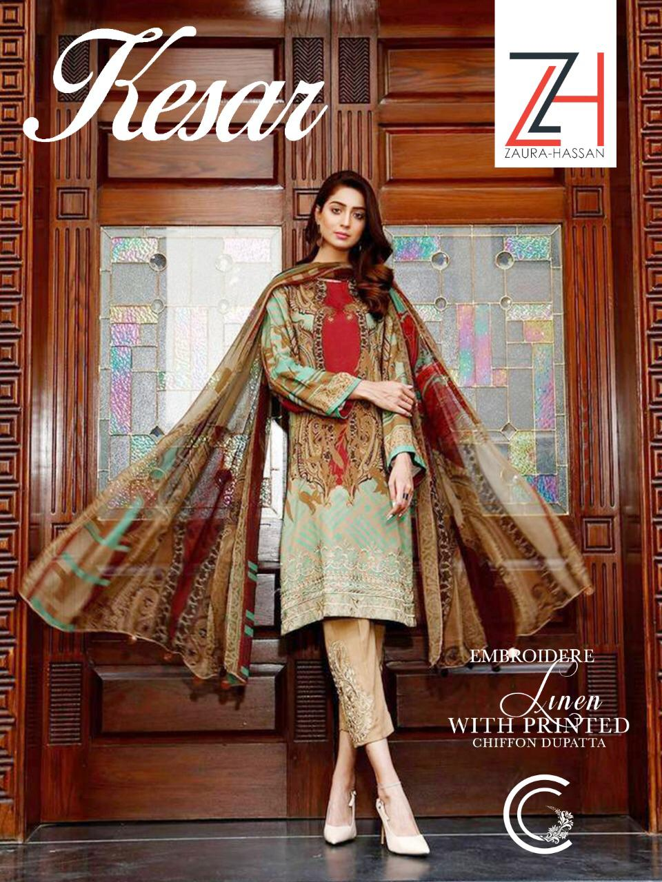 Kesar Zaura Hasaaan Designer Pure Jam Cotton With Embroidery Work Suits Wholesale