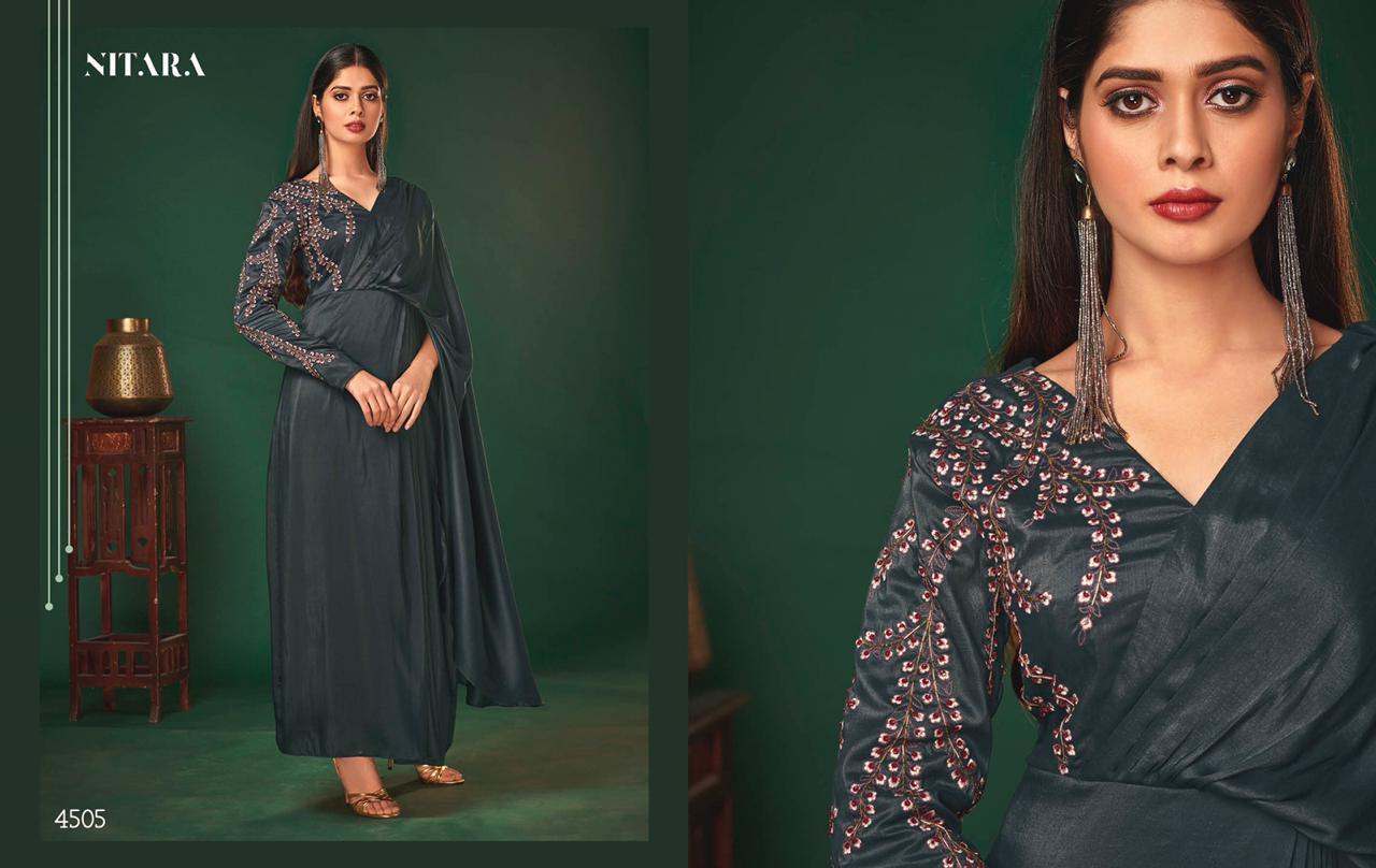 Nitara Nyx Designer Art Silk Evening Gowns Wholesale