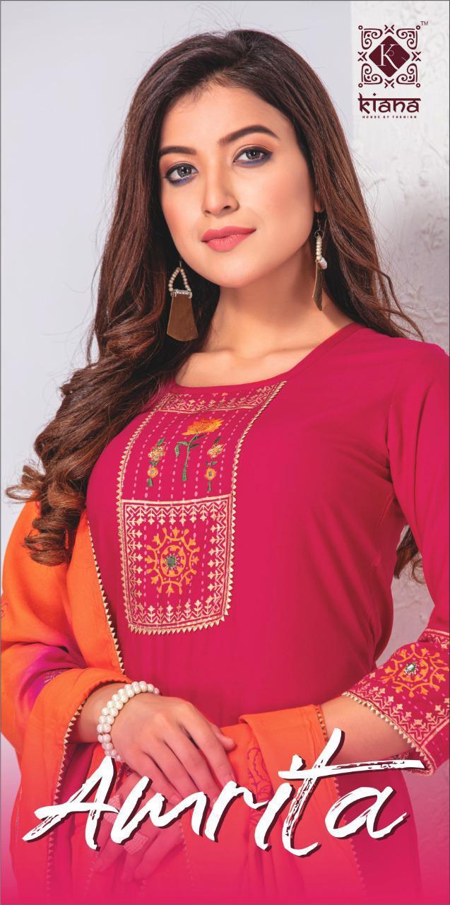 Kiana Amrita Designer Rayon Embroidery Work Kurti And Gold Print Sharara Pant Skirt And Pant With Stylish Dupatta