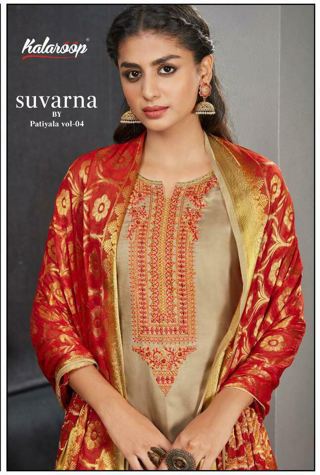 Kalarooo Kajree Suvarna By Patiyala Vol 4 Designer Jam Silk Khatli Work Stitched Patiyala Suits Wholesale