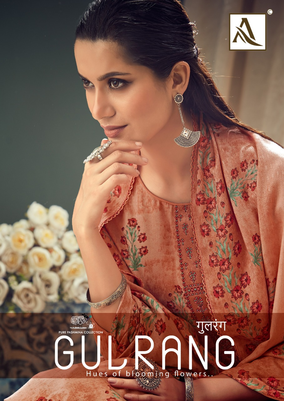 Alok Suit Gulrang Designer Pashmina Print With Fancy Thread Embroidery Work Plazzo Suits Wholesale