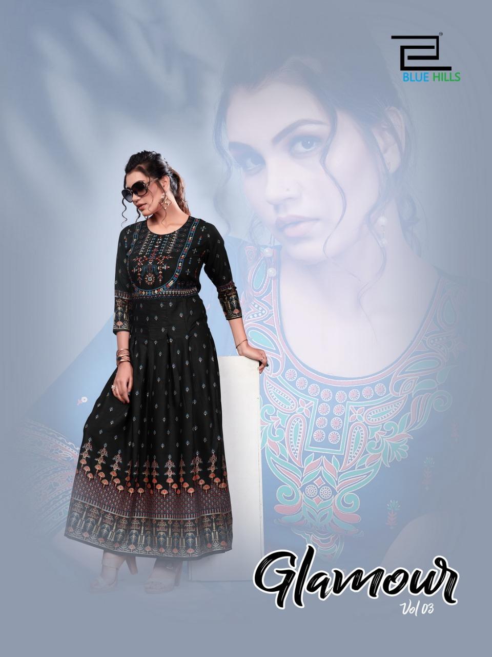 Blue Hills Glamour Vol 3 Designer Rayon Foil Print Long Gowns Wholesale