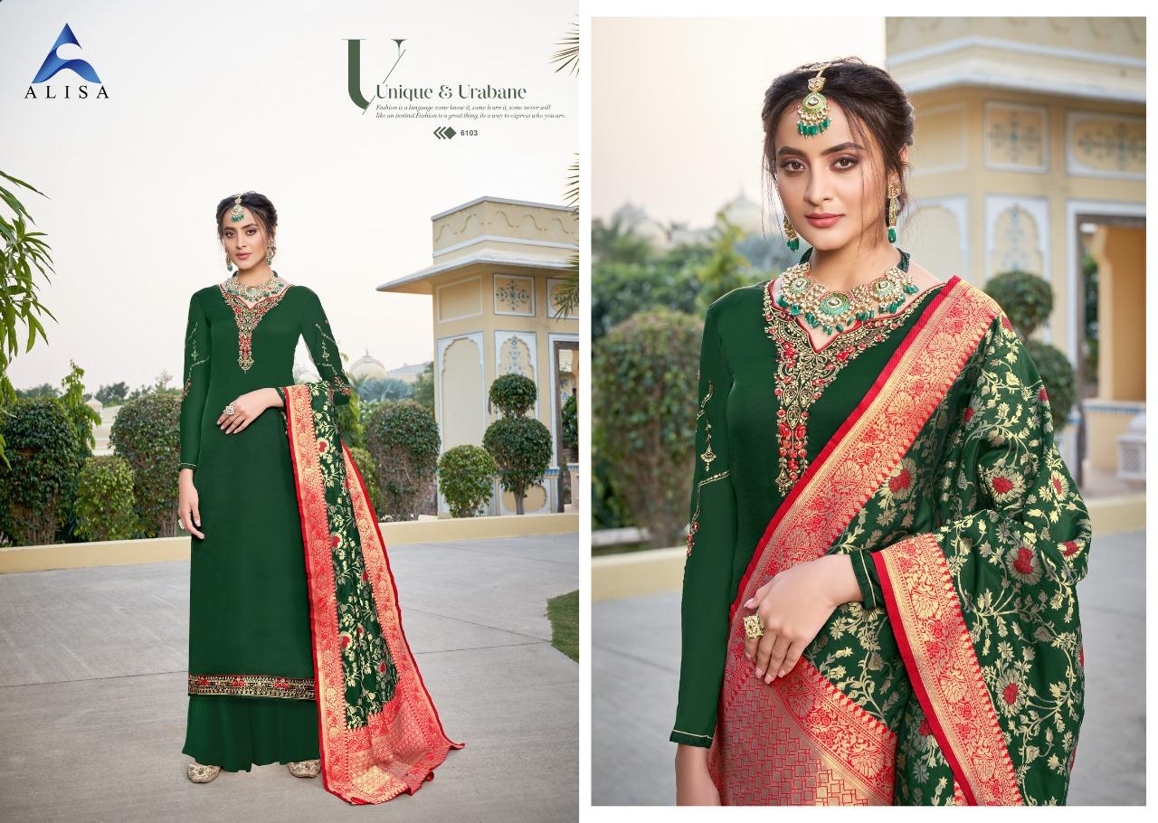 Alisa Amira Vol 15 Designer Georgette With Heavy Work And Additional Diamond Work Suit With Minakari Fancy Banaras Jacquard Dupatta Suit Wholesale