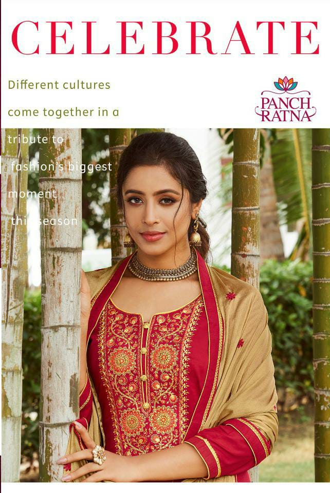Kessi Panch Ratan Celebrate Designer Jam Silk Work With Diamond Suits Wholesale