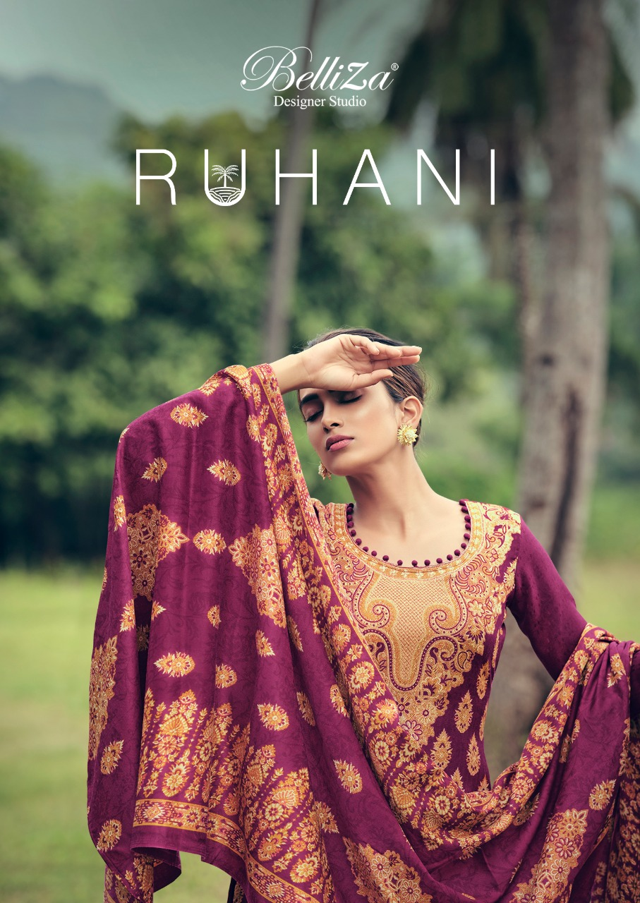Belliza Ruhani Vol 3 Designer Pashmina Digital Style Printed With Shawl Dupatta Suits Wholesale