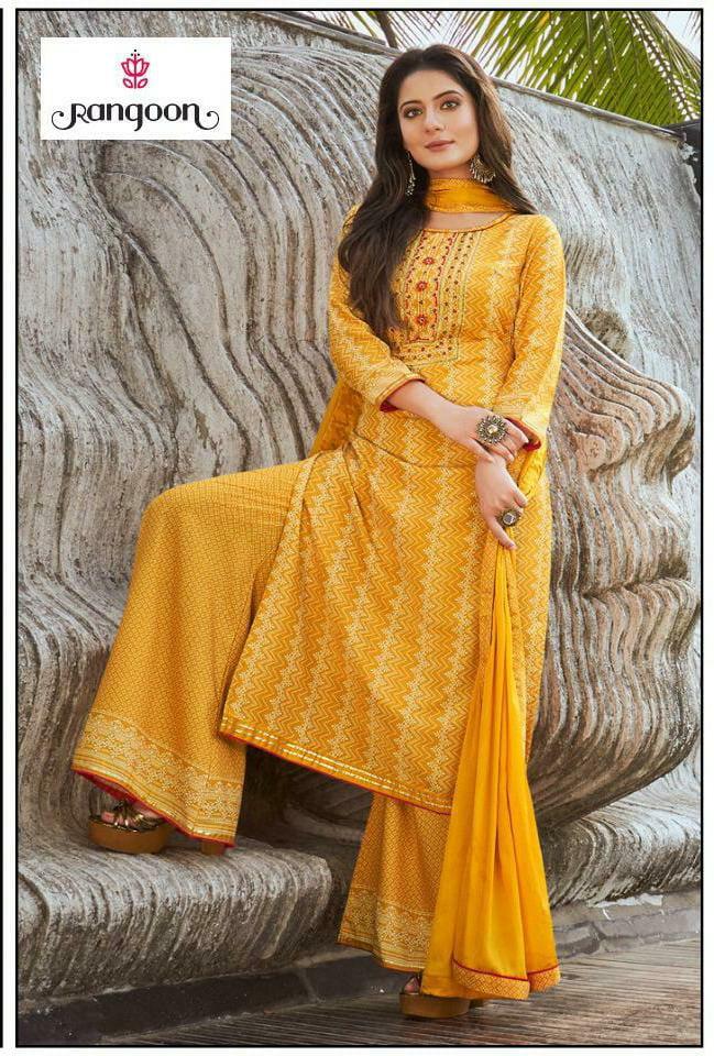 Rangoon Roopkala Slub Rayon With Digital Print And Khatli Handwork Stitched Suits Wholesale