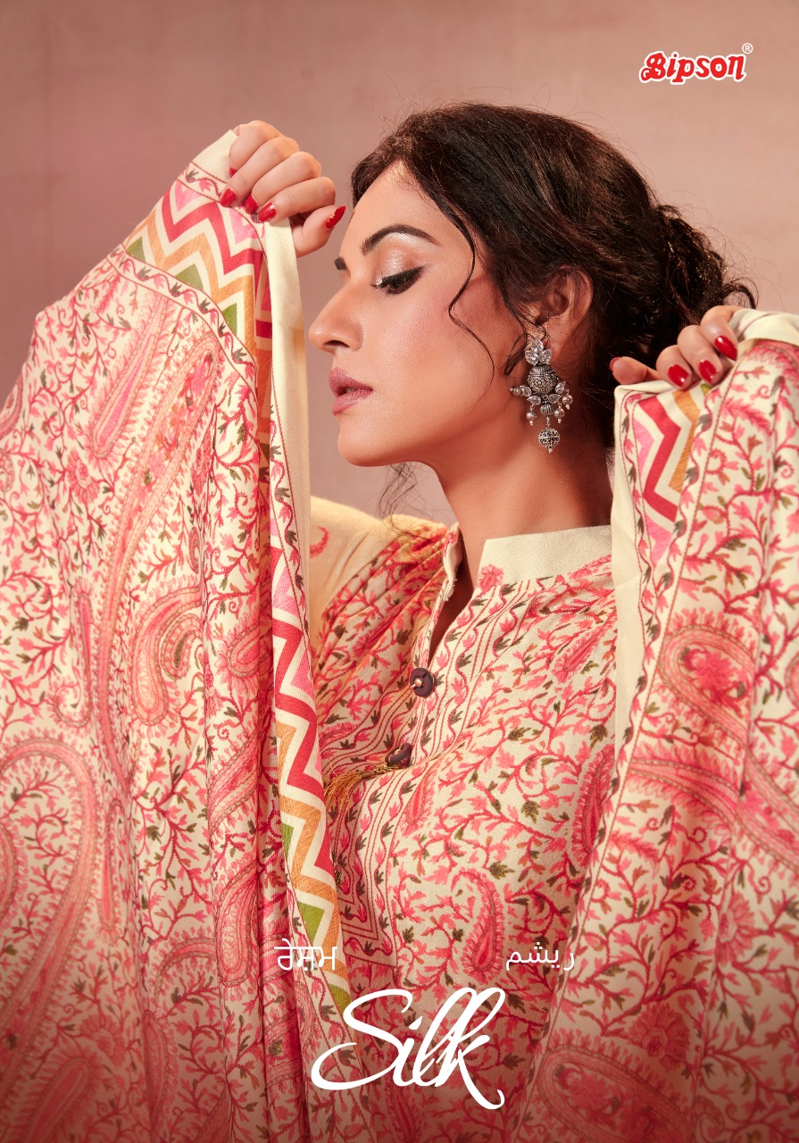 Bipson Silk 1116 1119 Designer Pashmina Digital Print With Pashmina Shawl Dupatta Suits Wholesale
