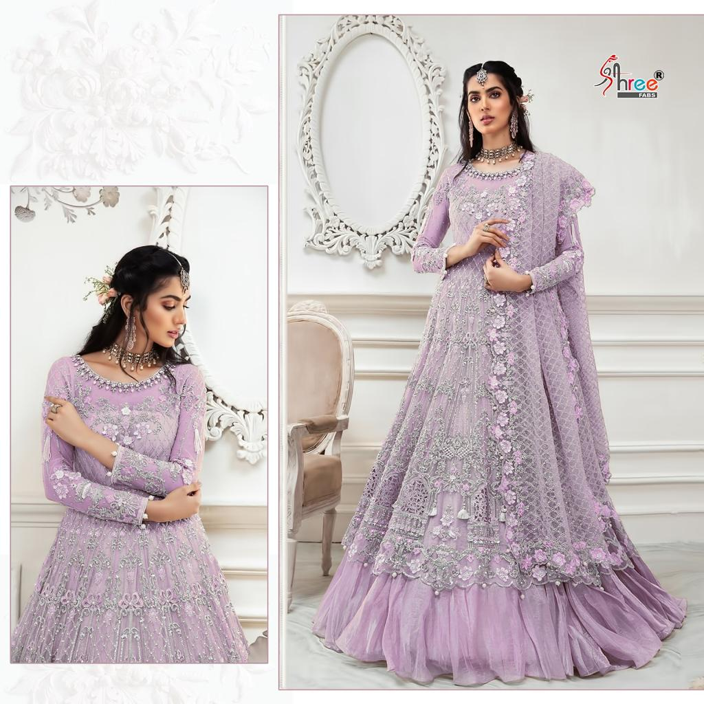 Shree Fab Butterfly Net Gowns Designer Butterfly Net Partywear Gowns Wholesale