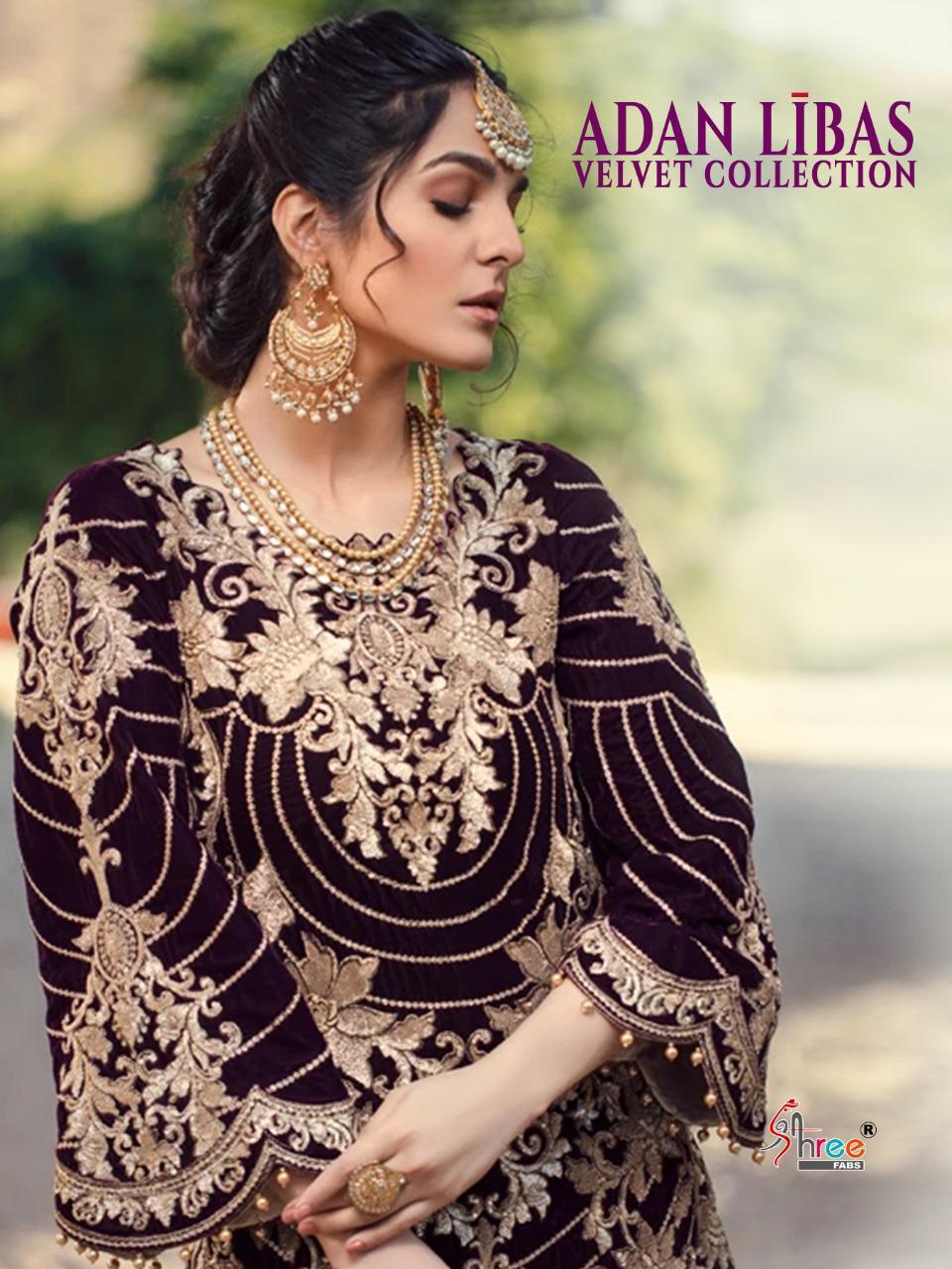 Shree Fab Adnan Libas Velvet Collection Designer Pure Velvet With Heavy Embroidery Work Partywear Pakistani Pettern Suits Wholesale