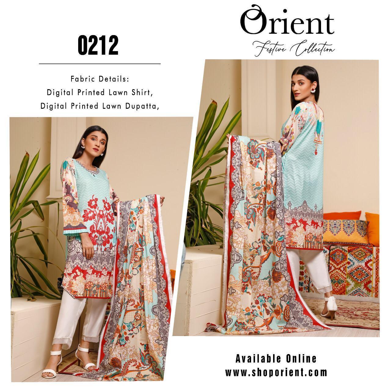 Orient Festive Collection Designer Airjet Luxury Lawn Suit With Lawn Dupatta Wholesale