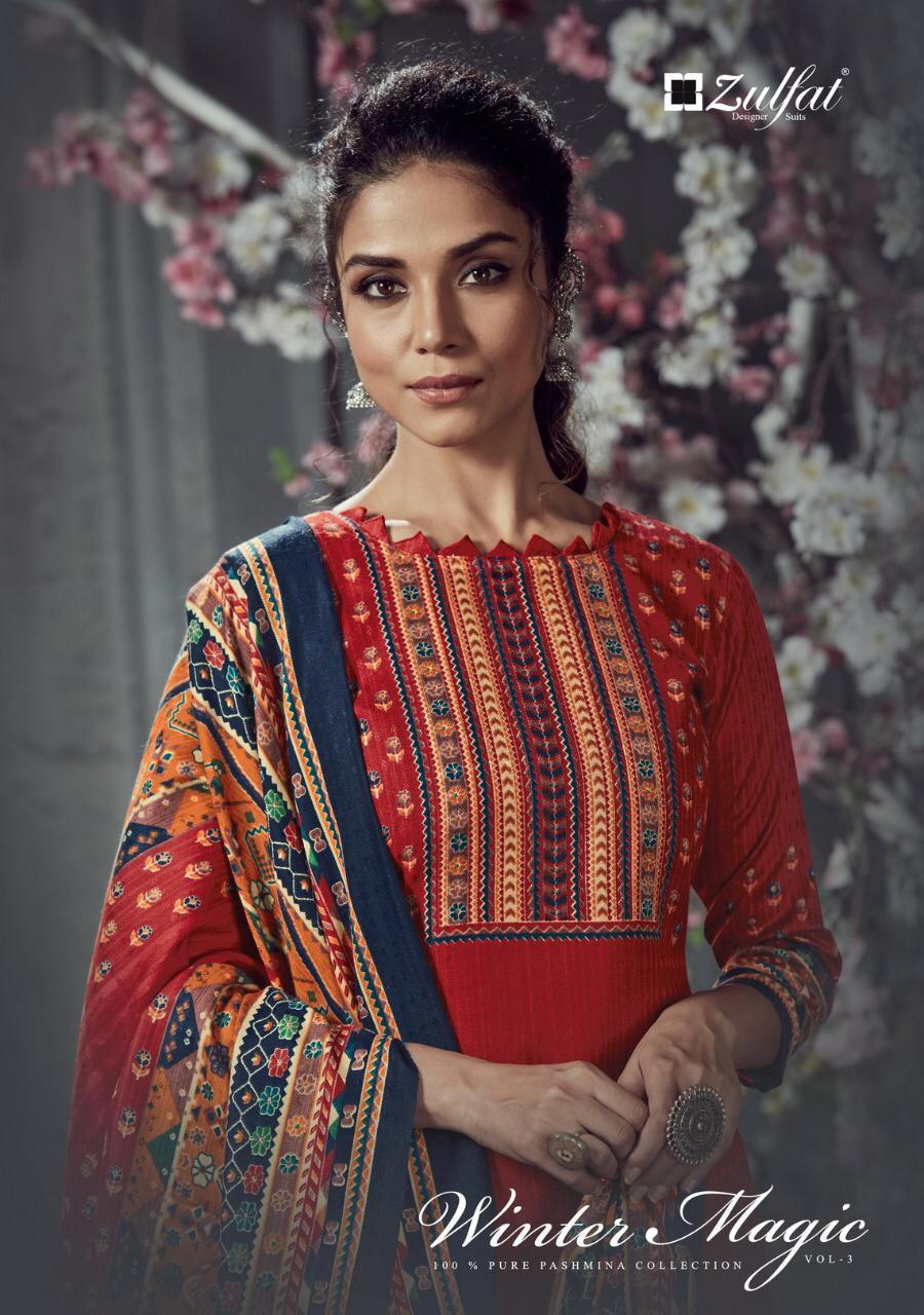 Zulfat Designer Winter Magic Vol 3 Designer Pure Pashmina Digital Printed Suits Wholesale