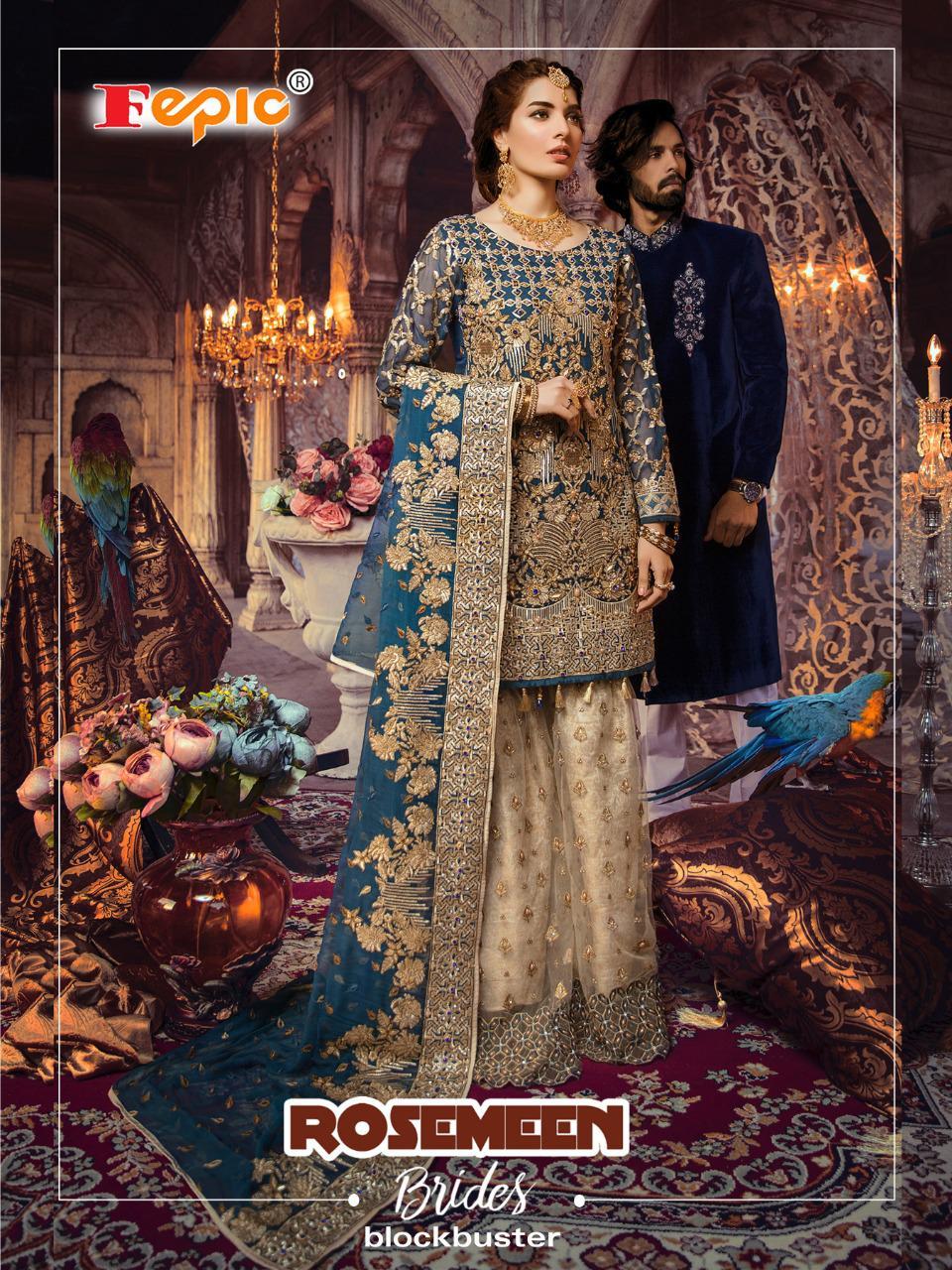 Fepic Rosemeen Brides Blockbuster Designer Heavy Georgette Partywear Pakistani Pettern Suits Wholesale