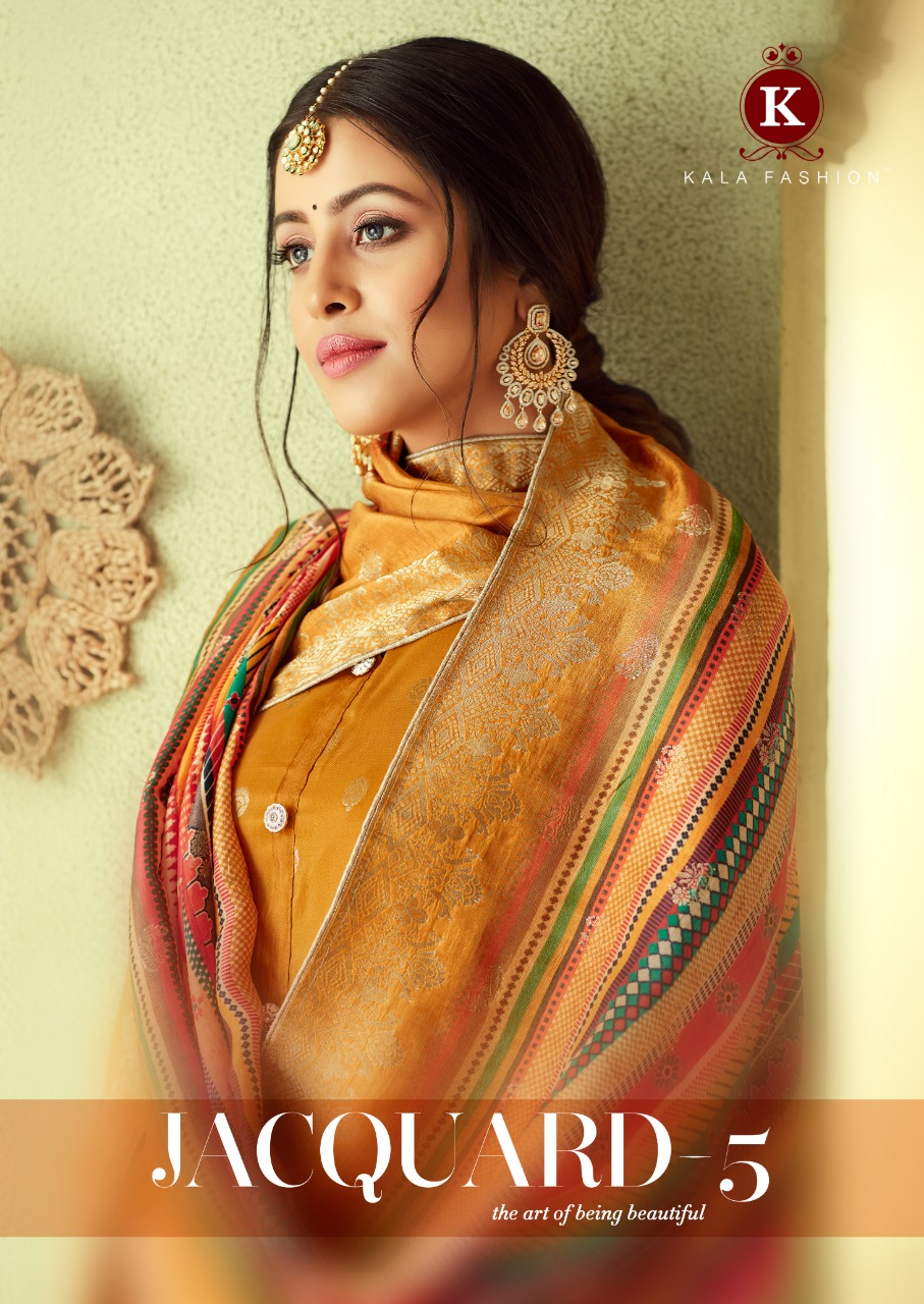Kala Fashion Jacquard 5 Designer Jacquard Silk Suits Wholesale