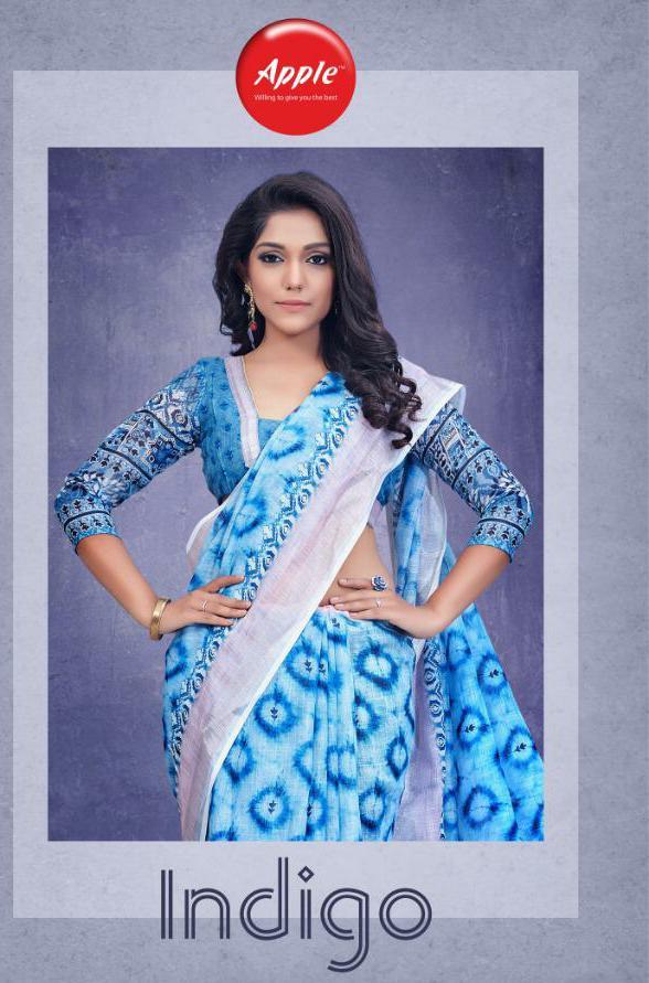 Apple Saree Indigo Vol 1 Designer Pure Linen Digital Printed Suits Wholesale