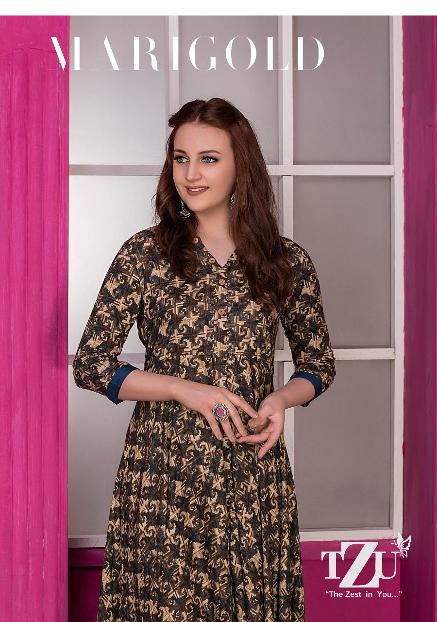 Tzu Lifestyle Marigold Glace Rayon Designer Dresses Wholesale