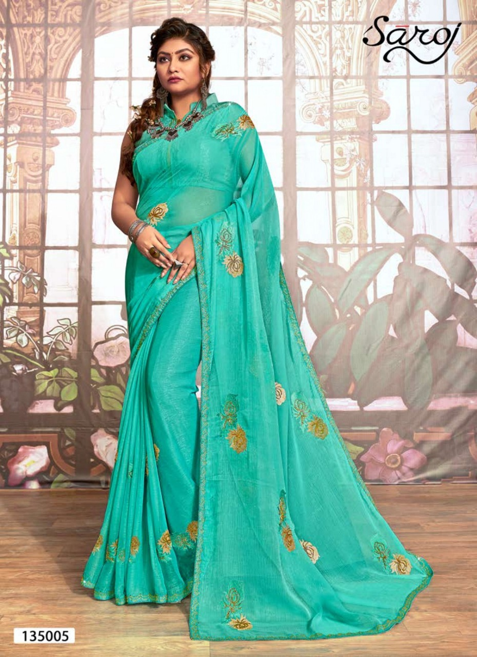 Saroj Star World Designer Simmer Fabric With Handwork And Swarovski Border Sarees Wholesale
