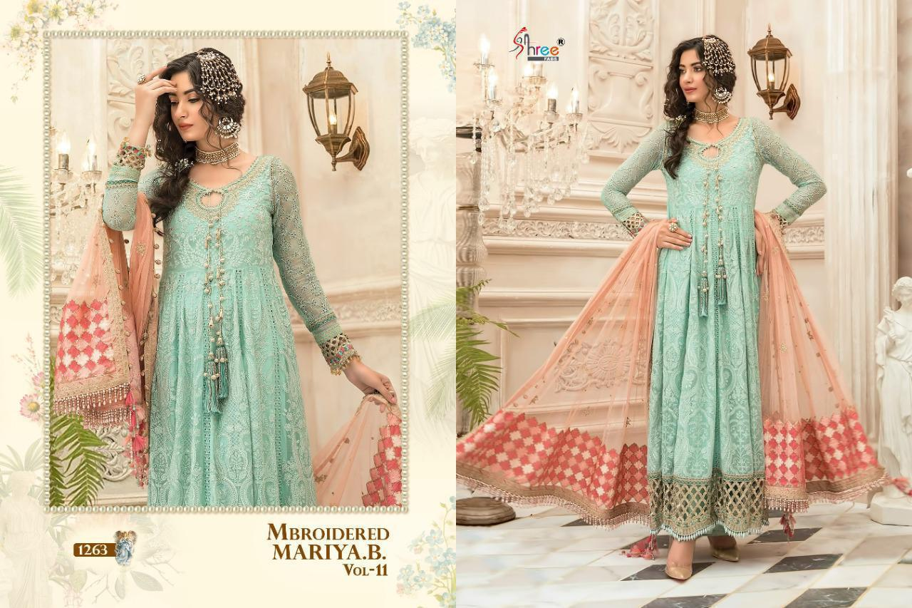 Shree Fab Mbroidered Mariya B Vol 11 Designer Georgette And Tissue Embroiderd Suits In Single