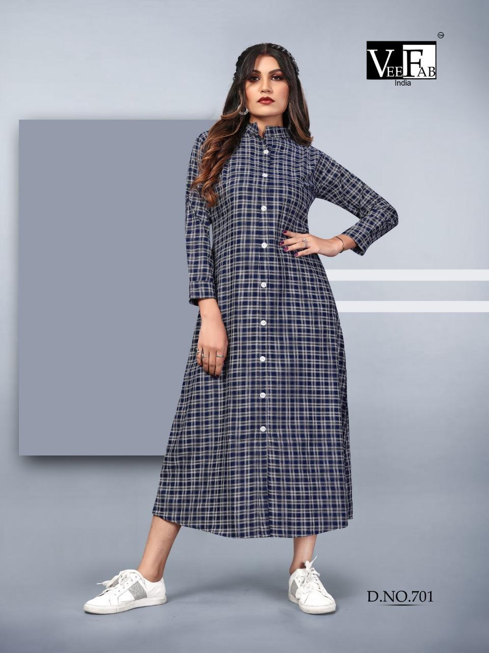 Vee Fab Winter Grace Vol 7 Designer Cotton Twirl Long Kurtis Wholesale