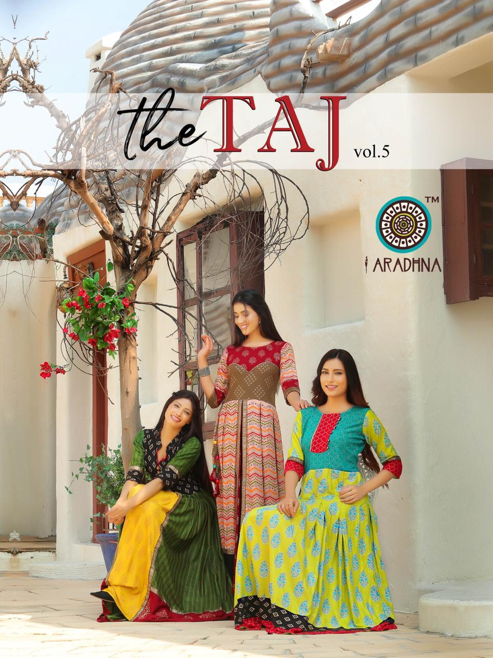 Aradhna Taj Vol 5 Heavy Rayon Cotton Print With Embroidery Work Gowns Wholesale
