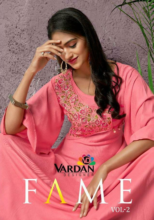 Vardan Designer Fame Vol 2 Designer Rayon Long Occasional Wear Kurtis Wholesale