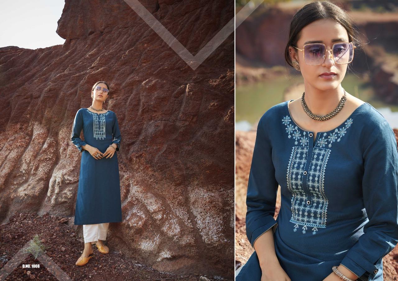 Kalaroop Kajree Lily Vol 18 Rayon Embroided Work Kurties Wholesale