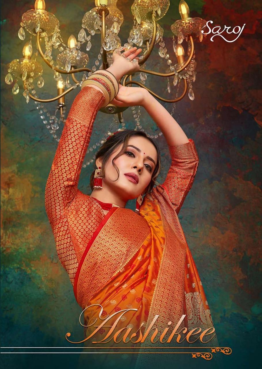 Saroj Saree Aashikee Designer Party Wear Heavy Embroidery Saree Wholesale